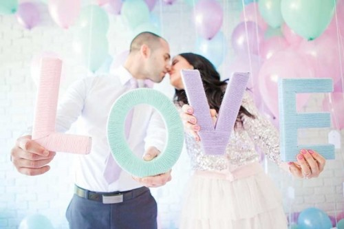 mint, purple, pink and blue yarn wrapped letters are nice for cute pastel wedding decor