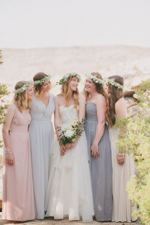 Most Beautiful Neutral Color Bridesmaids' Dresses