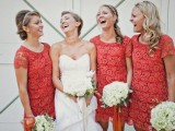 coral lace short bridesmaid dresses with a high neckline and short sleeves are classics for a spring or summer wedding