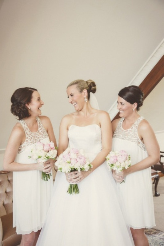 neutral A line mini bridesmaid dresses with thick straps, scoop necklines, lace bodices are great for a modern glam wedding