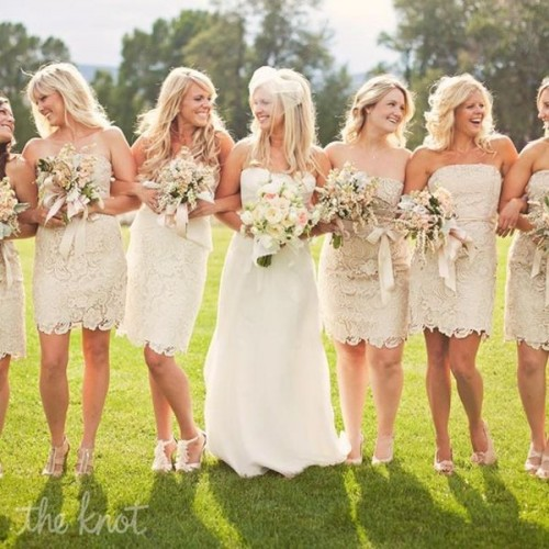 strapless neutral lace over the knee bridesmaid dresses are classics for hot weather spring and summer weddings, maybe boho or rustic ones