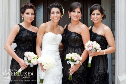 elegant black lace one shoulder bridesmaid dresses with embellishments are super chic and stylish