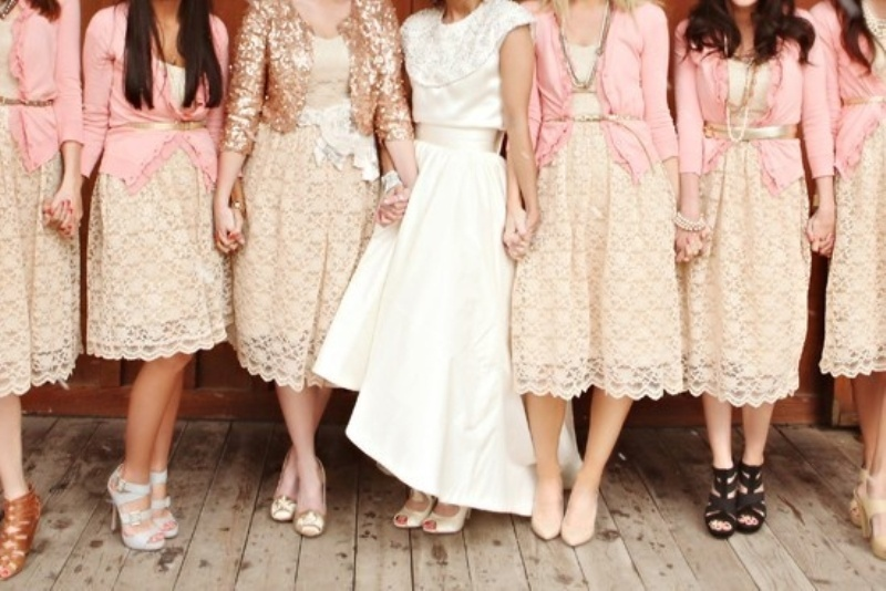 neutral lace midi dresses, matching pink crdigans to cover up, mismatching shoes and accessories for cozy fall or summer bridesmaids' looks