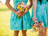 turquoise lace A-line knee bridesmaid dresses are lovely for a bold spring or summer wedding