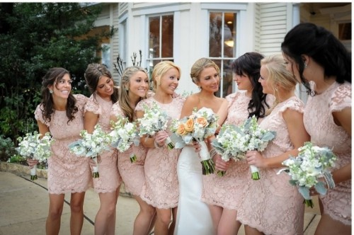 mini blush lace fitting bridesmaid dresses with short sleeves and hgih necklines are girlish classics that always works