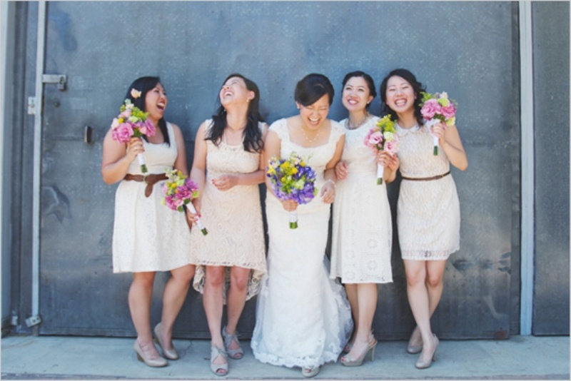 mismatching neutral lace bridesmaid dresses of various lengths are amazing for many weddings