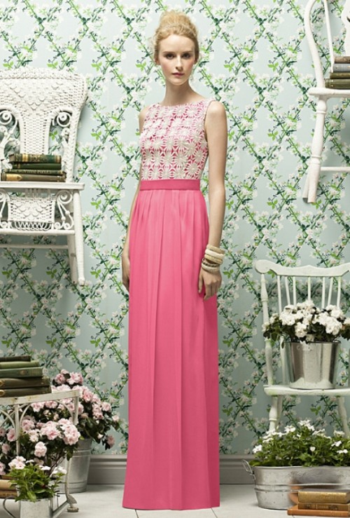 a refined bridesmaid dress with a neutral lace sleeveless bodice and a pink maxi skirt is a stylish contrasting idea