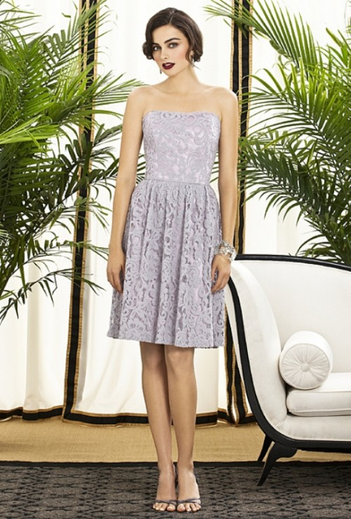a grey lace strapless A-line bridesmaid dress with a pleated skirt is a lovely and chic idea with a slight retro feel
