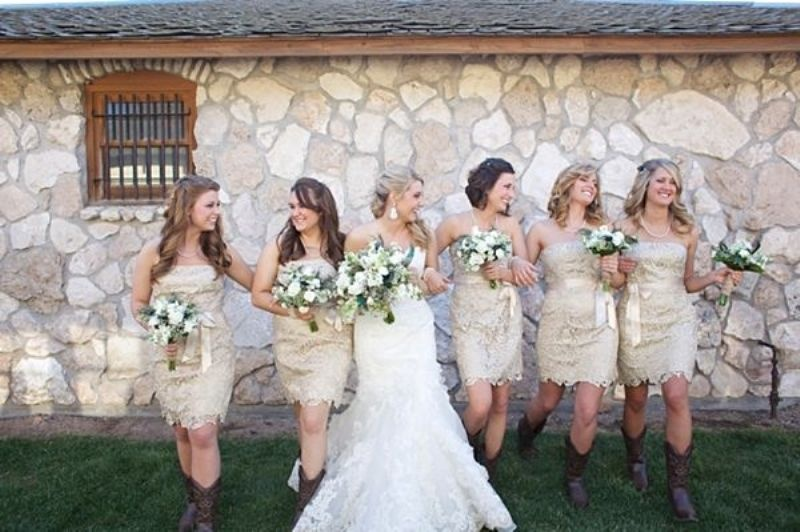 Lace Bridesmaid Dresses With Cowboy Boots