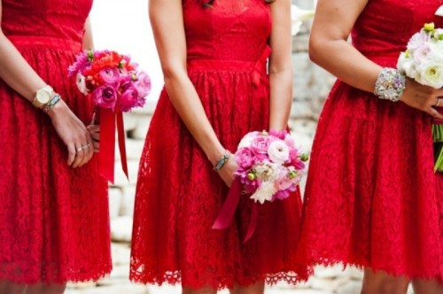 red lace bridesmaid dresses with illusion necklines and A-line silhouettes are lovely and chic for a bold spring or summer wedding