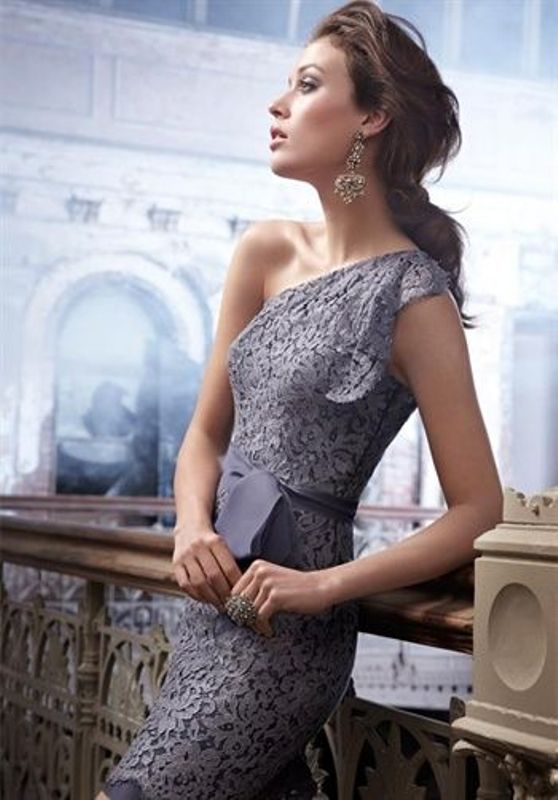 a fitting lavender lace one shoulder knee bridesmaid dress and a sash is a lovely and chic idea for a bridesmaid in spring or summer