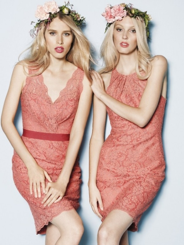 mismatching coral lace over the knee dresses with various necklines are great for spring or summer weddings