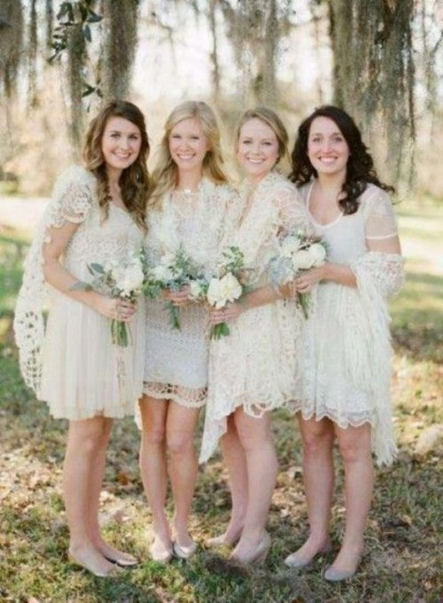 mismatching neutral lace bridesmaid dresses over the knee and matching coverups for a spring or summer wedding