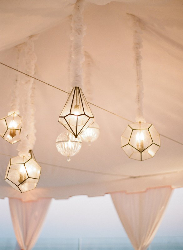 faceted geometric pendant lamps are cool modern lights and they will accent a modern or art deco wedding venue