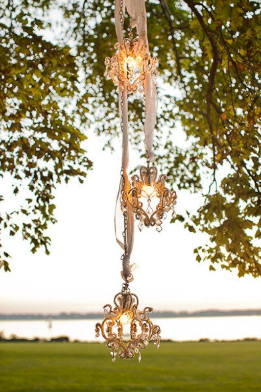 vintage crystal pendant lamps on ribbons are cool and chic lights with a whimsical touch