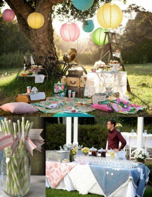 a colorful wedding picnic with bright blankets, pillows, colorful paper lamps, sweets on the tables and bright napkins