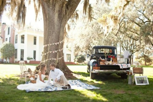 a vintage rustic wedding picnic with a paper bunting, some photos on the tree, a blanket and a vintage car as a sweets table
