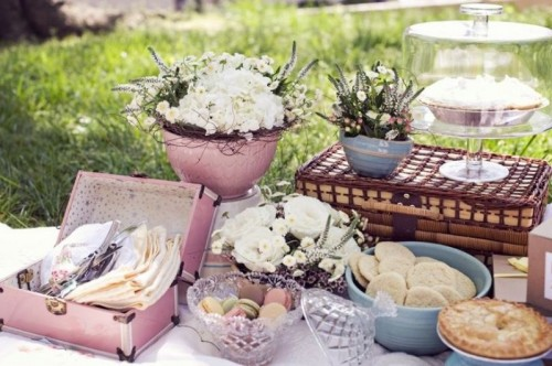 a pastel pink wedding picnic with a blanket, white blooms in pots, sweets in bowls and glass plates