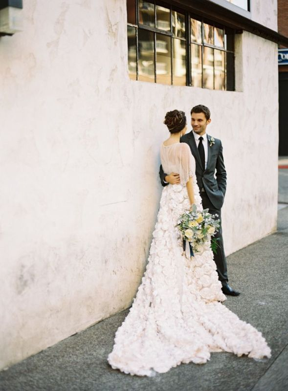 Picture Of stunning wedding dresses with trains  16