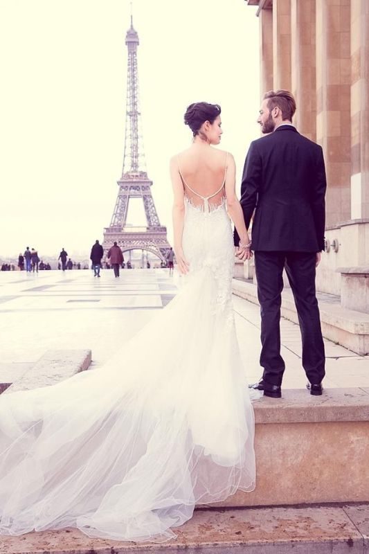 Picture Of stunning wedding dresses with trains  17