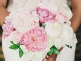 a pink and white peony wedding bouquet is a lovely idea for a summer wedding, it looks very marshmallow-like