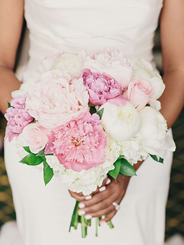 a pink and white peony wedding bouquet is a lovely idea for a summer wedding, it looks very marshmallow like