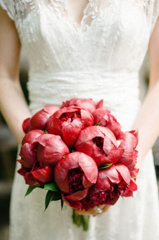 a bright coral peony wedding bouquet is a bold solution for a summer or summer to fall wedding, a bold touch of color