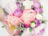 hot pink, peachy and white peonies, billy balls and some greenery make this wedding bouquet cheerful and bright