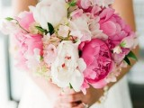 a bold white and hot pink peony wedding bouquet is a pretty and bright idea for a colorful spring or summer wedding