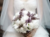 a lovely wedding bouquet of white peonies and lilac is a heavenly beautiful idea for a spring wedding