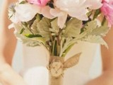 a white and pink peony wedding bouquet with thistles and lavender is a stylish and cool idea for a spring or summer wedding
