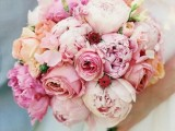 a pretty blush, light pink peony and neutral rose wedding bouquet is a beautiful idea for a spring or summer wedding
