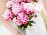 a romantic pink peony wedding bouquet is a lovely solution for a spring or summer wedding and is easy to compose