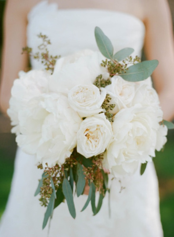 a romantic white peony wedding bouquet with eucalyptus is a pretty and chic idea for a spring or summer wedding
