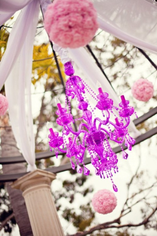 a radiant orchid crystal chandelier will spruce up your reception space or a dance floor
