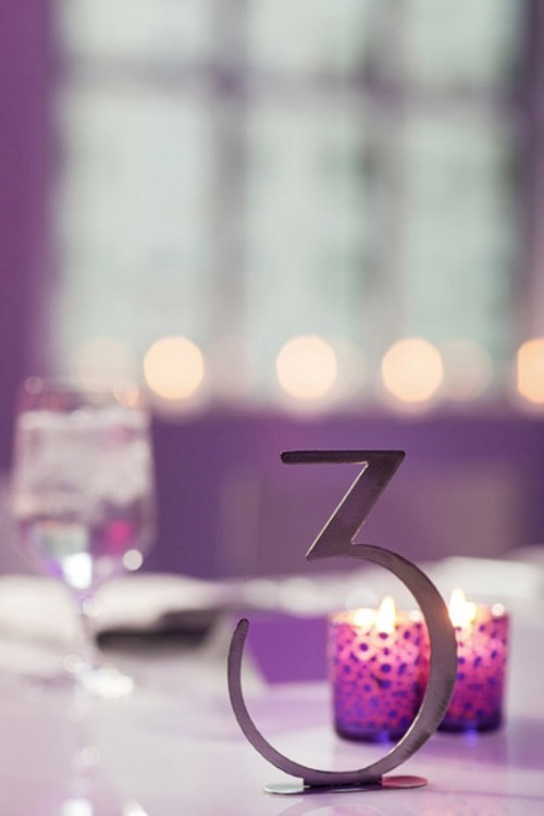 radiant orchid candleholders and metallic decor will be amazing for decorating any wedding space in bright colors