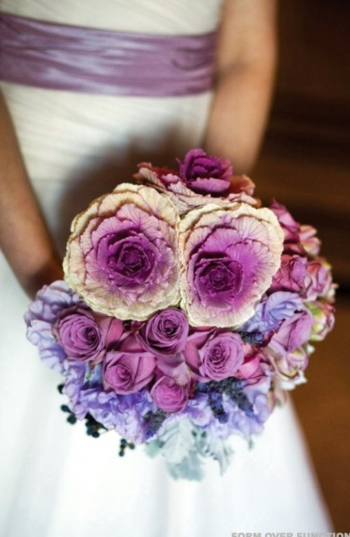 a bold purple wedding bouquet from lavender to purple and radiant orchid for a bright radiant orchid wedding