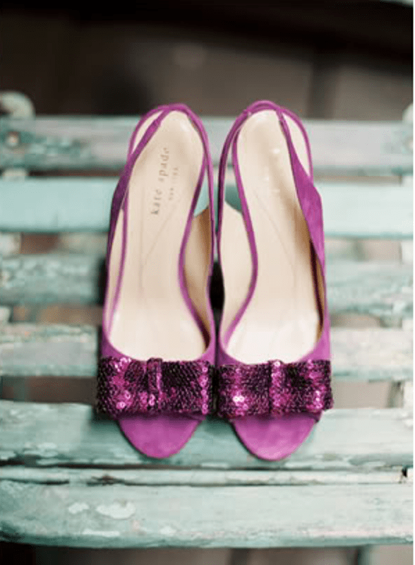 radiant orchid wedding shoes with sequin bows are really chic and bold and will make your look more colorful and interesting
