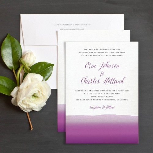 bold watercolor white and purple wedding invitations will be a nice solution for your bright wedding
