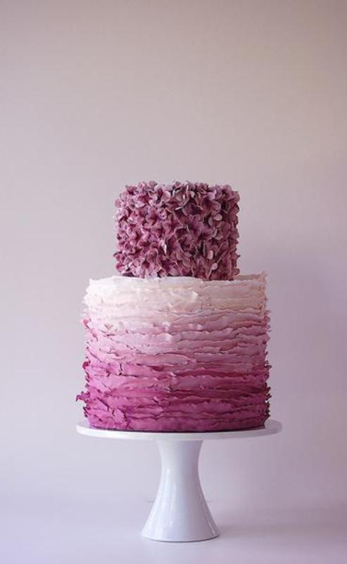 a radiant orchid wedding cake with a floral tier and an ombre ruffle tier is a very romantic and cute idea to rock