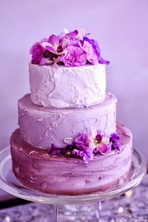 a textural radiant orchid wedding cake topped with matching blooms is a fantastic idea of a wedding dessert
