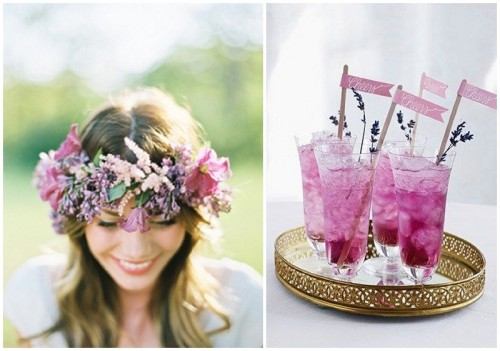 radiant orchid wedding lemonade with lavender and a radiant orchid floral crown for a purple wedding