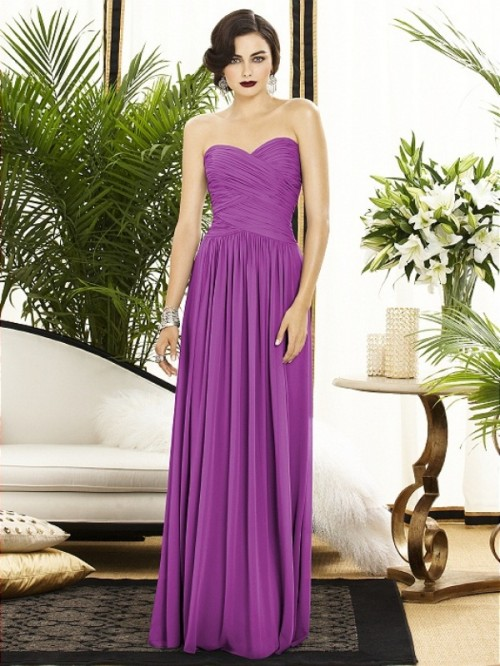 a strapless draped maxi bridesmaid dress will be a nice idea to stick to your color scheme