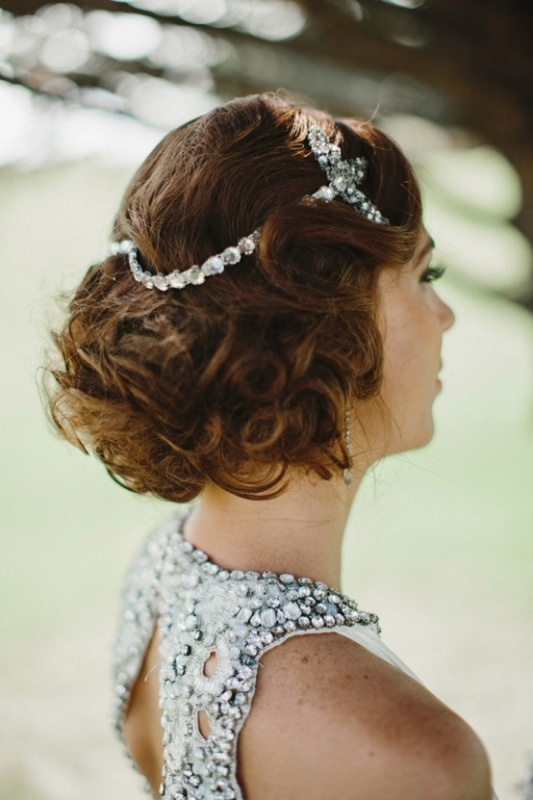 vintage curls highlighted with rhinestone hairpieces for a 20s and 30s inspired look