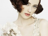a sleek and shiny top plus curls on short hair will accent your Roaring 20s bridal look