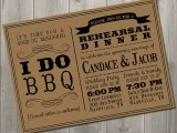a stylish neutral and black rehearsal dinner invitation with elegant and cool letters is a cool idea for a rustic rehearsal