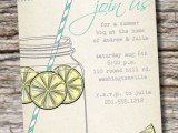 a bright and fun rehearsal dinner invitation with simple printing and colorful drinks and letters for a summer rehearsal