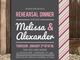 a cheerful rehearsal dinner invitation in black, white and pink and a colorful striped envelope is a fun and bold idea