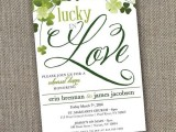 a stylish botanical rehearsal dinner invitation in white and bright green and hunter green with quirky printing for a St.Patrick's Day rehearsal