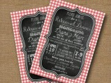 a rustic rehearsal dinner invitation in chalkboard style and with plaid edges is a nice and cute idea to go for